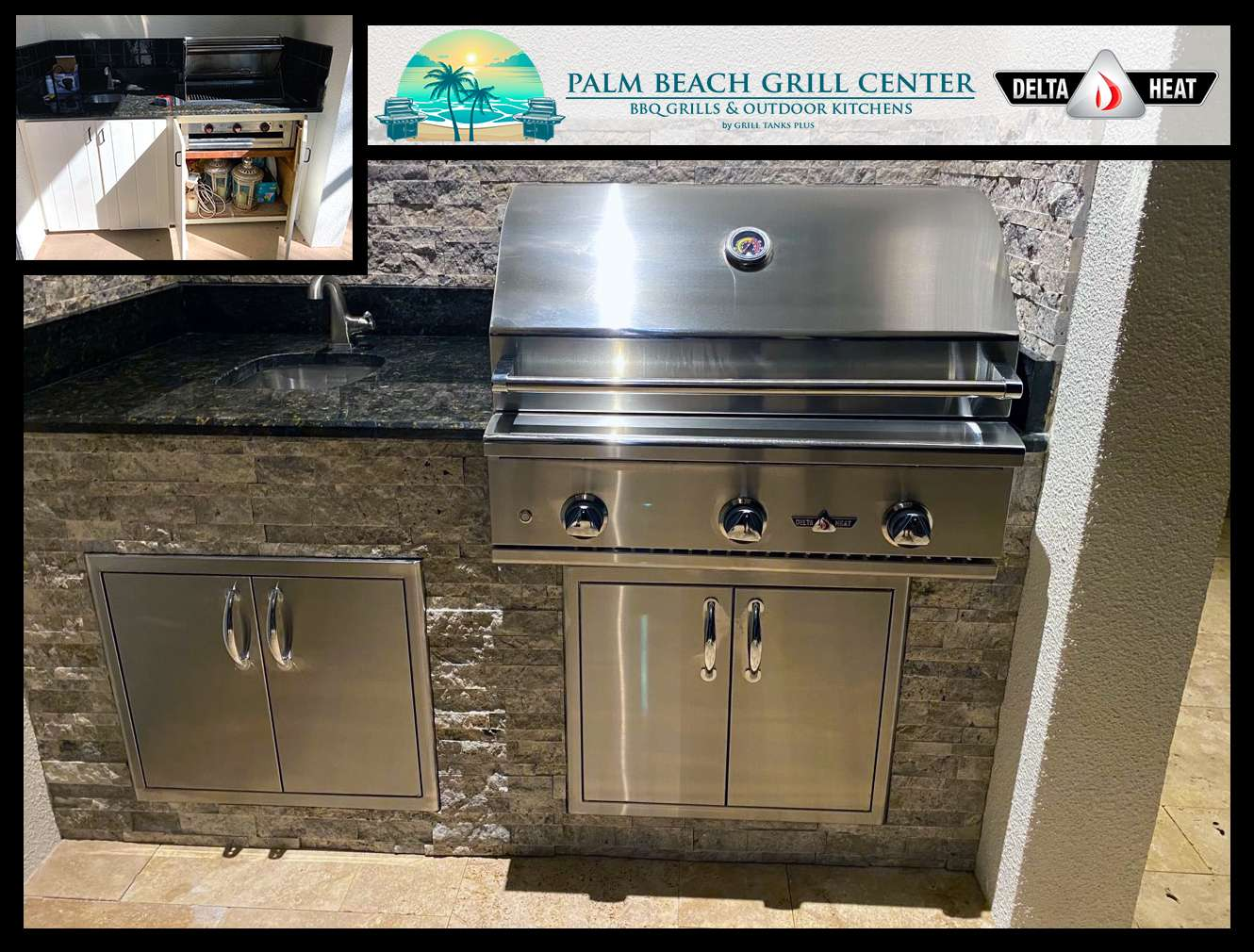 Palm Beach Grill Center Outdoor Kitchen Revamp before after