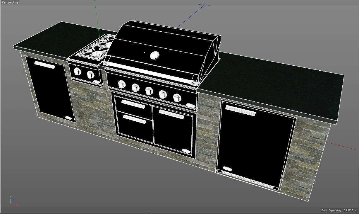 outdoor kitchen made by palm beach grill center with DCS products design phase